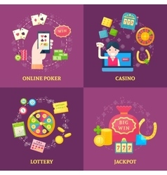 Lottery icons square composition vector