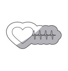 figure sticker heartbeat icon vector image