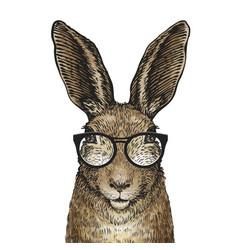 cute easter bunny with glasses cartoon vector image