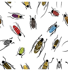 Beetles sketch pattern for your design vector image
