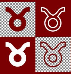 Taurus sign   bordo and white vector