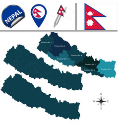 map of nepal with provinces vector image