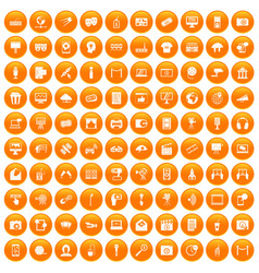 100 multimedia icons set orange vector