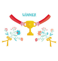 Winner cup with cute design vector