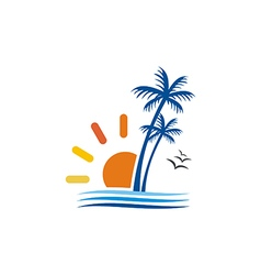 Beach palm tree sun seagul logo vector