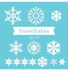 Set of white flat snowflakes on a blue background vector