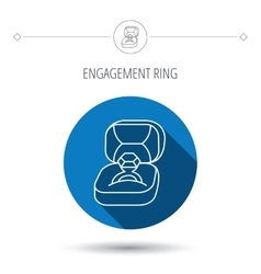 Engagement ring icon jewellery box sign vector