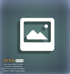 Photo frame template icon symbol on the blue-green vector