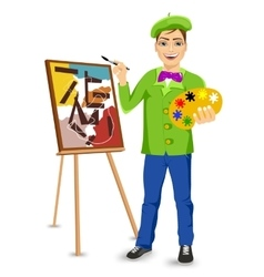 Young happy male painter artist painting vector