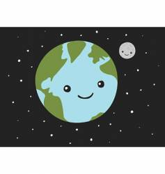 Planet earth and the moon vector