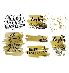 Set of easter card and hand drawn easter vector