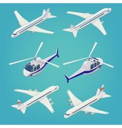 Passenger airplane passenger helicopter isometric vector
