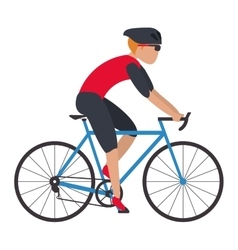 Person riding bike vector