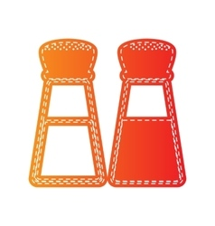 Salt and pepper sign orange applique isolated vector