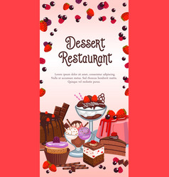 Bakery dessert banner for restaurant vector