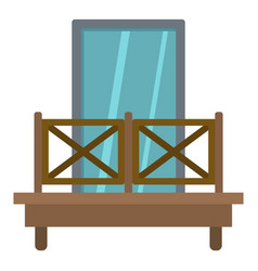 Balcony with wooden fence icon isolated vector