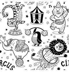 circus seamless pattern contour background vector image vector image