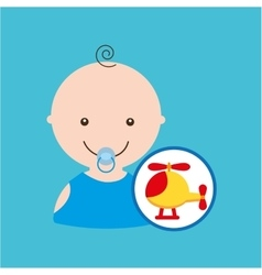Cute helicopter baby toy icon vector