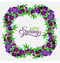 Decorative flowers of watercolor spring wreath vector
