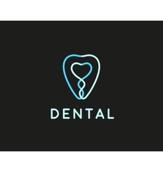 Dentist logo design template tooth creative line vector