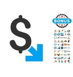 Dollar decrease icon with 2017 year bonus symbols vector