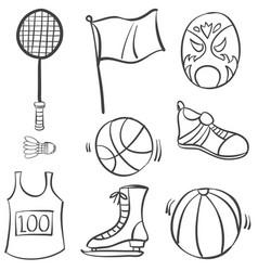 Doodle of sport hand draw equipment vector