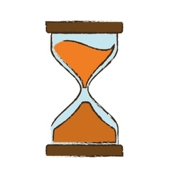 drawing clock glass sand business vector image
