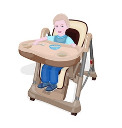 Eating baby in chair for babies vector