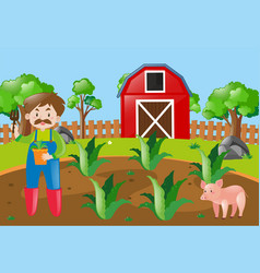 farm scene with farmer planting in field vector image