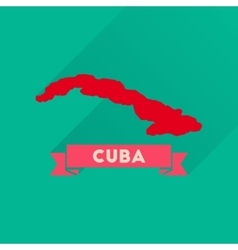 Flat icon with long shadow map of cuba vector