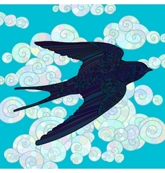 Flying swallow with high details vector