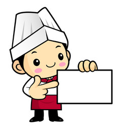 Funny chef character to give us a business card vector