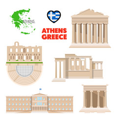 greece athens travel set with architecture vector image vector image