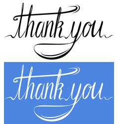 handwritten inscription set of thank you card vector image