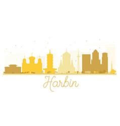 Harbin city skyline golden silhouette vector