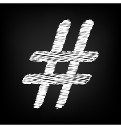 Hashtag sign scribble effect vector