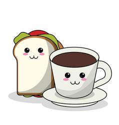 kawaii sandwich and coffee cup image vector image