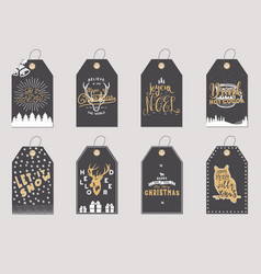 merry christmas and new year gift tags collection vector image vector image