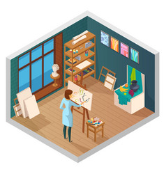 Modern painting studio composition vector