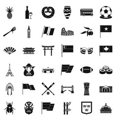Nationwide icons set simple style vector