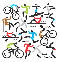Outdoor sports icons background vector image