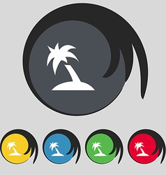 Palm tree travel trip icon sign symbol on five vector