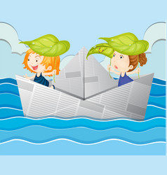 Paper boat with two girls vector