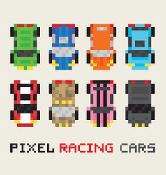 Pixel art style racing cars set vector