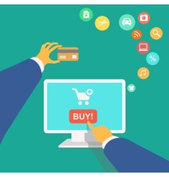 poster concept with icons of buying product online vector image vector image