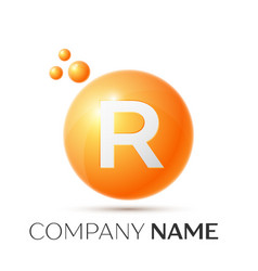 R letter splash orange dots and circle bubble vector