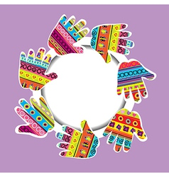 Round frame with patterned hands and place for vector image vector image