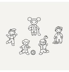 Set of cute doodle children vector image