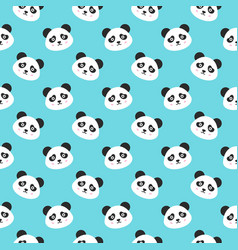 Smiling panda faces seamless pattern vector