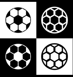 soccer ball sign black and white icons vector image